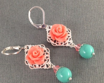 Coral and Aqua Silver Filigree Flower and Pearl Earrings