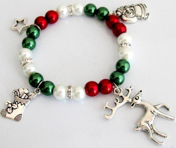 Christmas Charm Bracelet, Candy stocking bracelet,Reindeer bracelet, Christmas Jewelry, Christmas Stocking,Santa Bracelet Free Shipping USA