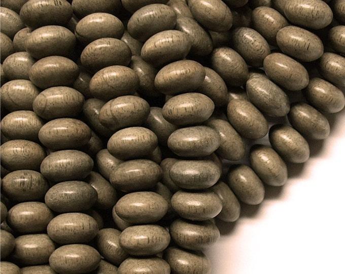 WDRN-10GR - (Five) Wood Bead, Rondelle 6x10mm, Graywood - 16 Inch Strands