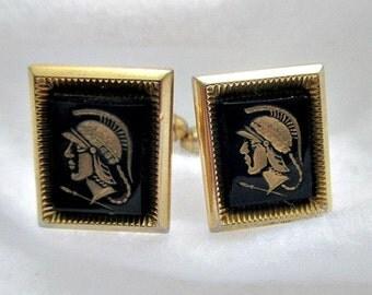 Greek Roman Soldier Vintage Onyx Cuff Links Cufflinks - Vintage Men's Dude Jewelry Gift