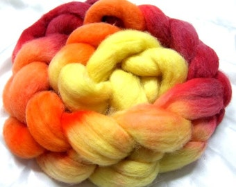 Roving Handpainted Soft Wool Top Corriedale Blend 4 oz Colorway, Caliente, Free Shipping