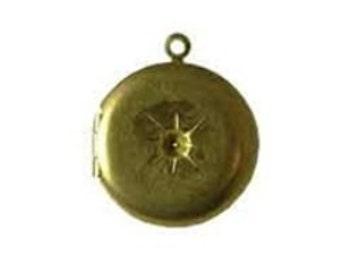 Round Brass locket, 20mm round locket, gold locket Raw Brass Locket, Rhinestone locket, 10(ten) lockets