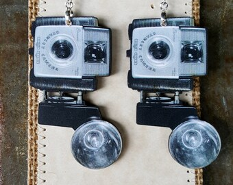 Vintage Camera Earrings handmade ooak laser cut wood stainless earwires side flash brownie photography photographer gift photog photophile