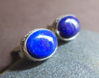 Lapis Lazuli Blue Gemstone Cufflinks, Oval Blue Lapis Pyrite Matrix Sterling Silver Cufflinks, Greek Key Motif Shirt Accessories