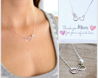 Mother of the Bride Gift, Mom Necklace, Infinity Necklace, Infinity Necklace, Pearl or Custom Birthstone, Thank you Gift, Mother's Gift