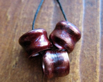Hammered Copper Tube Bead Trio in Ember Red Patina
