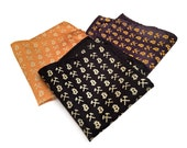 Bitcoin Pocket Square. Cryptocurrency, bitcoin logo handkerchief. Internet Money, virtual currency mens gift.