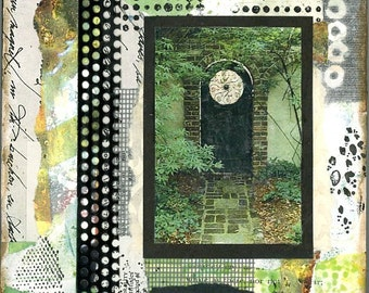 """Art painting, """"The Entryway"""" collage, mixed media art, paint and paper, wall hanging, small work of art"""