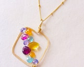 "Multi-gemstone Abstract ""Sunset Square"" Pendant with Tanzanite, Mandarin Garnet, Pink Tourmaline"