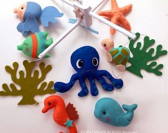 Free US Ship OCEANOGRAPHY Octopus and Sea Fish Musical Baby Mobile - Custom Mobile for Crib, Nursery Mobile, Modern Nautical, Ocean Maritime