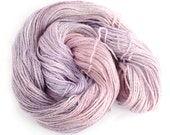 Double knitting yarn, hand dyed pink lilac DK baby alpaca linen silk blend light worsted crochet yarn skein, Perran Yarns Buddleia uk seller