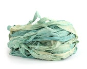 Recycled sari silk ribbon handdyed in Seafoam, 10metre length, textile arts, mixed media jewellery making, limpet shell pale blue aqua