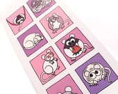 Cute Rat Card (pinks / purples) - blank inside - tall card with 8 squares of cartoon rodents - fancy, hairless and dumbo rats