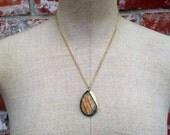 Dark to Light - Gold labradorite and rhinestone cabochon necklace