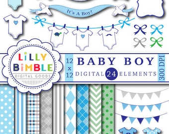 60% off Baby Boy clipart digital papers for shower invitation, clothespin line, onesies, banner, blue, bunting INSTANT DOWNLOAD