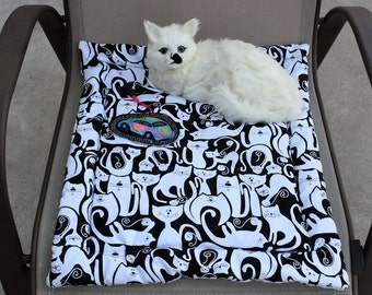 Cat Mat, Mat With Catnip Toy, Black and White Cat Mat, Colorado Catnip Mat, Cat Bed, Fabric Cat Mat, Cat Accessories, Cat Crate Mat, Catnip