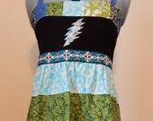 Grateful Dead 13pt Bolt Festival Dress Tiered Dress Hippie Patchwork Halter Sun Dress,Festival Maxi Dress,corset, hippie dress