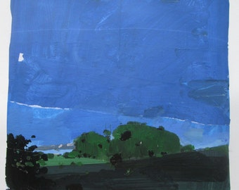 June Stand, Evening, Original Landscape Collage Painting on Paper, Stooshinoff
