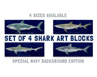 Mounted Shark Prints Gifts for Boyfriend- Gifts- Shark Decor for Kids- Set of 4 Shark Art Blocks- Ocean Theme Bedroom- Shark Nursery