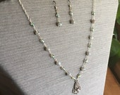 Labradorite Necklace with Sterling Silver Pendant and Matching Earrings