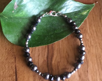 Hematite and Black Crystal Bracelet