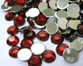 Acrylic Rhinestone Cabochon Beads, Faceted, Circle, Red, 6mm, 500pcs