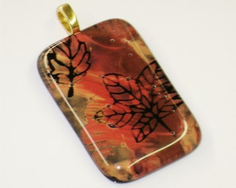 Fused Glass Pendant with Leaves