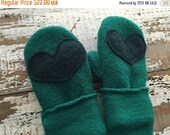 40% OFF FLASH SALE- Wool Heart Mittens-Teal-Toddlers-Eco Friendly