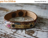 40% OFF FLASH SALE- Stamped Leather Cuff-Word Cuff-Customize-