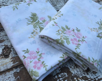 Vintage Floral Fabric-  Reclaimed Vintage Bed Linens Fabric-