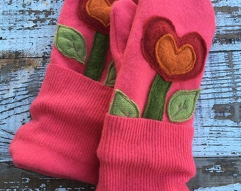 30% OFF SUPER SALE- Upcycled Felted Wool Mittens- Garden Blooms in Pink-Pink Mittens-Heart Mittens