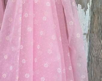 Vintage Swiss Dot Fabric in White and Pink Floral