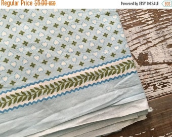 40% FLASH SALE- Vintage Heart Fabric-Blue and Green-Valentines Day