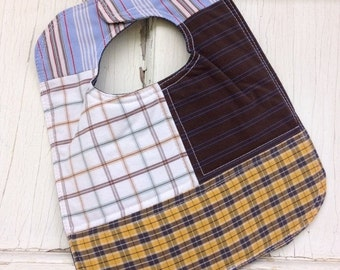 30%OFF SUPER SALE- Quilted Plaid Bib-Wee Ones Bib Collection-Reversible