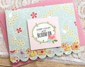 "Keep Calm and Bloom On Pop-Up Card, Flowers, Hello, Note, Die-Cut, Encouragement, Concern, Caring, Thinking of You, Friendship - 4.5"" x 3.5"""
