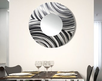 Mirror Wall Sculpture abstract circle metal wall art mirror large contemporary