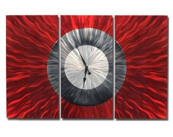 Large Red, Charcoal & Silver Metal Wall Clock - Abstract Functional Art - Contemporary Wall Decor - Hanging Timepiece - Big Red by Jon Allen