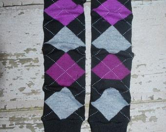 black, purple, grey, argyle, baby leg warmers, toddler leggings, plaid, legwarmers, babylegs, knee pads, tights, crawler socks