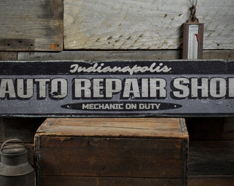Auto Repair Shop Wood Sign, Custom Car Location City Name Gift, Mechanic Garage Decor - Rustic Hand Made Vintage Wooden Sign ENS1001605
