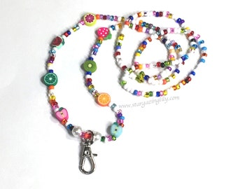 Tutti Fruity Lanyard, fruit beads and brightly colors seed beads. badge holder. Teacher Gift, School Gift, Nurse gift