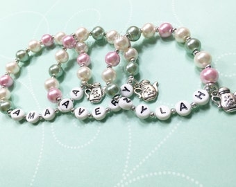 Sage & Mauve Rose Pink Pearl personalized name bracelet Tea Party Favor Garden Party Personalized party favor Kids Bracelet Party Favor