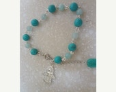 Valentine Silver Hamsa bracelet Jade, Amazonite, Turquoise Gemstone