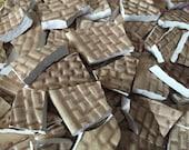 100 Mosaic Tiles Mix Broken Plate Art Hand Cut Mix Assortment Vintage Tetxure Pottery Brown Designs Mix