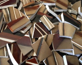 Mosaic Tiles Broken Plate Brown Red Earth Colors Stripe Mosaic Art Supply 100