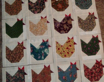 Set of  16  Already Pieced Scrappy Chickens Hens Quilt Blocks Presewn 9 x 9 inches