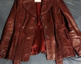 Gassy Jack Unique Vintage Maroon Belted Leather Jacket