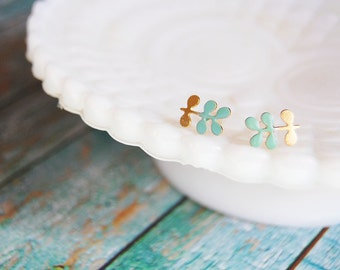 hand enameled little sprout gold plated post earrings - mint green
