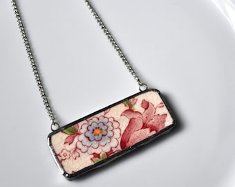 Broken China Jewelry Bar Necklace - Red and Blue Floral