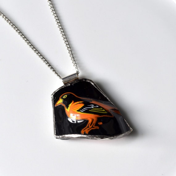 Broken Plate Pendant on Chain - Baltimore ORIOLES - Recycled China