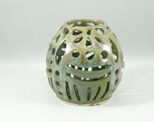 Artistic Sculptured Vase -  Ceramic Art Vessel  - Ceramic Fine Art Sculpture - Green Art Object - Lace Pattern Artwork - Home Office Decor